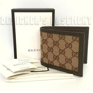 GUCCI Original GG canvas & leather bifold Wallet